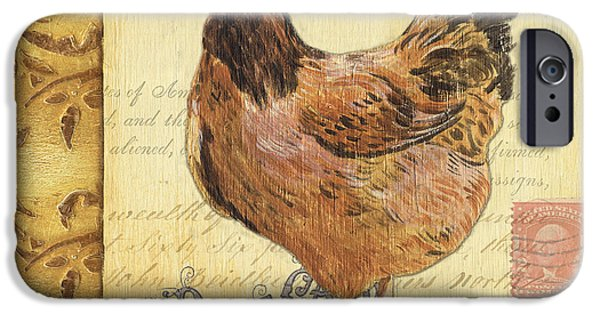 Barns Paintings iPhone Cases - Retro Rooster 1 iPhone Case by Debbie DeWitt