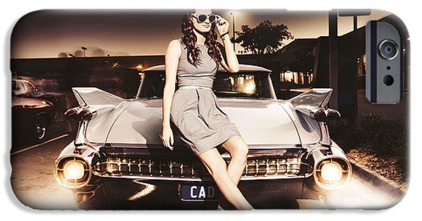 60s Hair iPhone Cases - Retro Sixties Pinup Girl On Vintage Car iPhone Case by Ryan Jorgensen