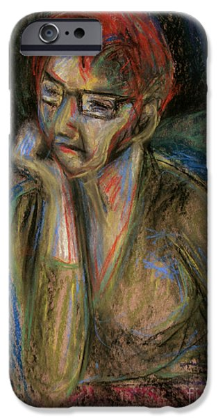 Thinking Pastels iPhone Cases - Retrospection - Woman iPhone Case by Samantha Geernaert