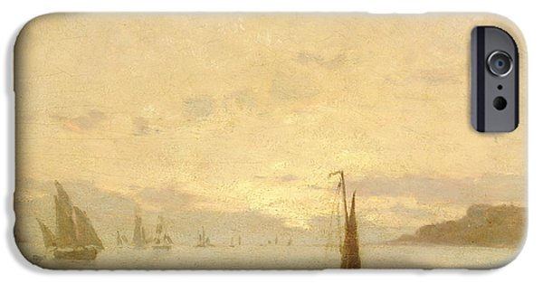 Boat iPhone Cases - Return from Fishing with Setting Sun iPhone Case by Eugene Louis Boudin