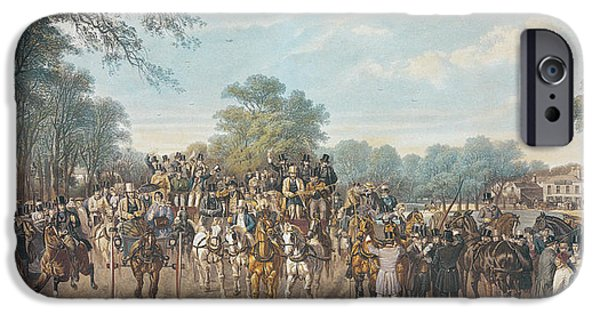 Horse Racing Photographs iPhone Cases - Return From The Derby, 1862 iPhone Case by John Frederick Herring Snr