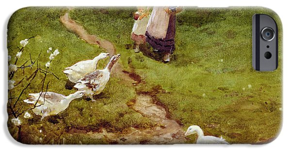 Rural iPhone Cases - Returning Home, 1894 Wc On Paper iPhone Case by Thomas James Lloyd