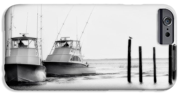Pamlico Sound iPhone Cases - Returning Home - Fishing on the Outer Banks iPhone Case by Dan Carmichael