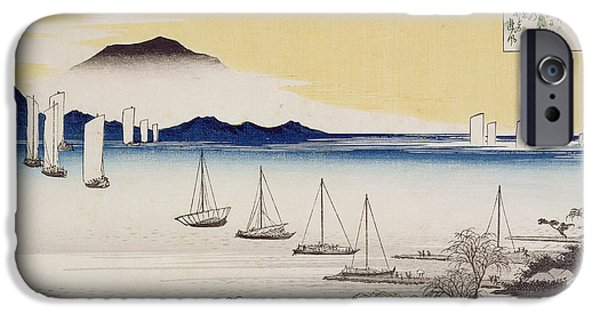 Sailboat Ocean iPhone Cases - Returning Sails at Yabase iPhone Case by Hiroshige