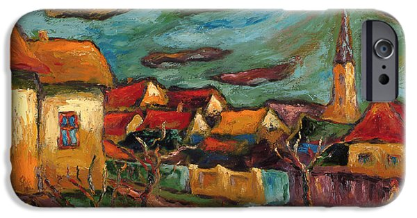 Village Photographs iPhone Cases - Returning To My Childhood Oil On Canvas iPhone Case by Marta Martonfi-Benke