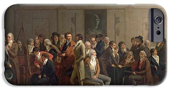 Piano iPhone Cases - Reunion Of Artists In The Studio Of Isabey, 1798 Oil On Canvas iPhone Case by Louis Leopold Boilly