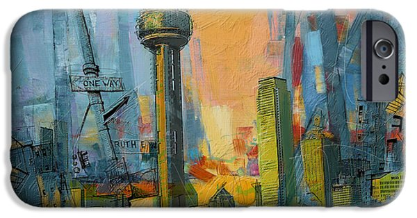 Chicago Paintings iPhone Cases - Reunion Tower iPhone Case by Corporate Art Task Force