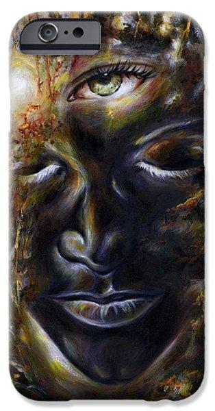 Third Eye Paintings iPhone Cases - Revelation iPhone Case by Hiroko Sakai