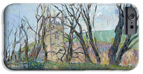 Spire iPhone Cases - Reverend Hawkers Church At Morwenstow Ii Oil On Canvas iPhone Case by Erin Townsend