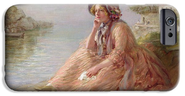 Thinking iPhone Cases - Reverie Oil On Canvas iPhone Case by Arthur Percy Dixon