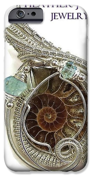 Jordan Jewelry iPhone Cases - Reversible Ammonite Fossil Aquamarine Swarovski Crystal and Sterling Silver Wire-Wrapped Pendant iPhone Case by Heather Jordan
