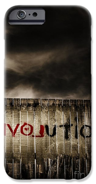 Reverse Art iPhone Cases - Revolution. The writings is on the wall iPhone Case by Ryan Jorgensen