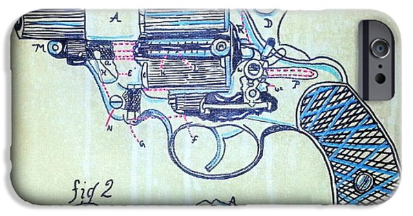 Diagram Paintings iPhone Cases - Revolver Patent iPhone Case by Jspired  Art