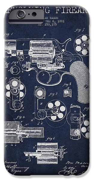 Weapon iPhone Cases - Revolving Firearm Patent Drawing from 1881 - Blue iPhone Case by Aged Pixel