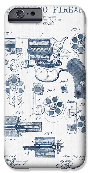 Weapon iPhone Cases - Revolving Firearm Patent Drawing from 1881 -  Blue Ink iPhone Case by Aged Pixel
