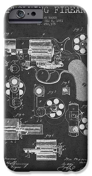 Weapon Digital iPhone Cases - Revolving Firearm Patent Drawing from 1881 - Dark iPhone Case by Aged Pixel