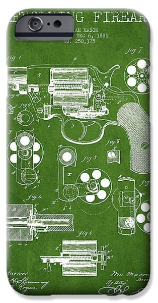 Weapon iPhone Cases - Revolving Firearm Patent Drawing from 1881 - Green iPhone Case by Aged Pixel