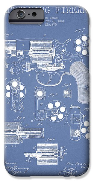 Weapon iPhone Cases - Revolving Firearm Patent Drawing from 1881 - Light Blue iPhone Case by Aged Pixel