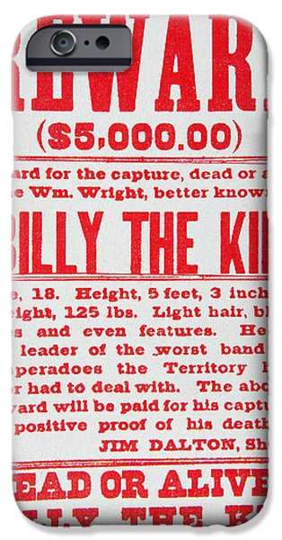 Police iPhone Cases - Reward Poster for Billy the Kid iPhone Case by American School