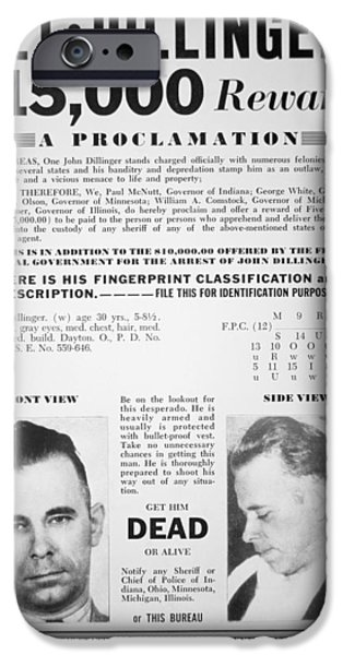 Police iPhone Cases - Reward poster for John Dillinger iPhone Case by American School