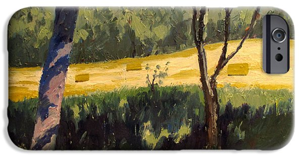 Bales Paintings iPhone Cases - Reworked ROLLING WHEAT iPhone Case by Charlie Spear