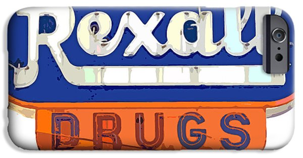 Neon iPhone Cases - Rexall Drugs iPhone Case by David Lloyd Glover