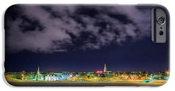 Wintertime iPhone Cases - Reykjavik Skyline, Iceland iPhone Case by Panoramic Images