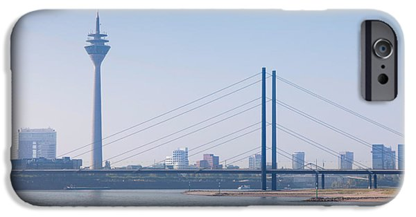 Connection iPhone Cases - Rheinturm Tower And Rheinkniebrucke iPhone Case by Panoramic Images