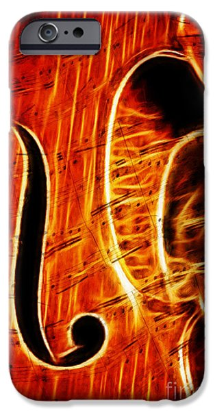 Upright Bass iPhone Cases - These Notes are On Fire iPhone Case by Eric Chegwin