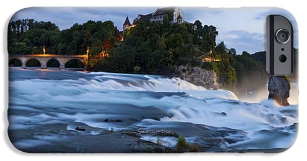 Night Lamp iPhone Cases - Rhine Falls by night iPhone Case by Holger Spiering
