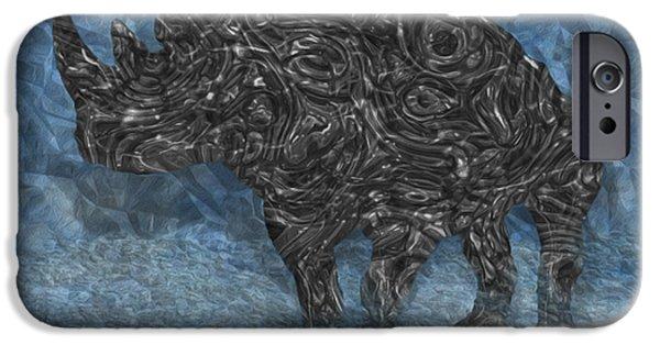 Painter Photo Digital Art iPhone Cases - Rhino 5 iPhone Case by Jack Zulli