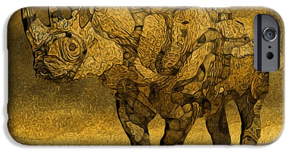 Painter Photo Digital Art iPhone Cases - Rhino - Abstract iPhone Case by Jack Zulli