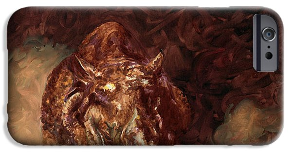 One Horned Rhino Paintings iPhone Cases - Rhino Charger Heaven iPhone Case by Sarah Soward