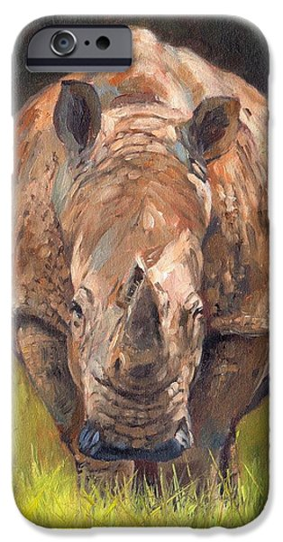 David iPhone Cases - Rhino iPhone Case by David Stribbling