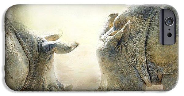 Rhino iPhone Cases - Rhino Love iPhone Case by Carol Cavalaris