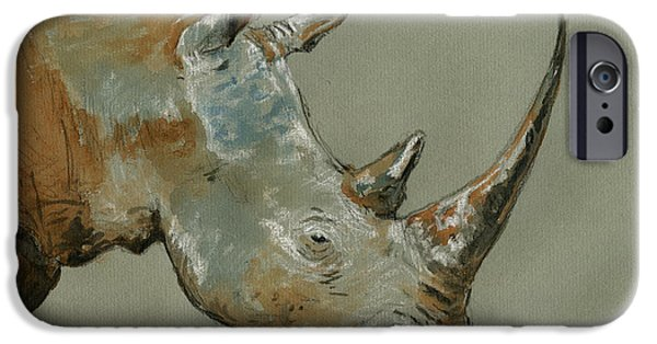 Original Watercolor iPhone Cases - Rhino study iPhone Case by Juan  Bosco