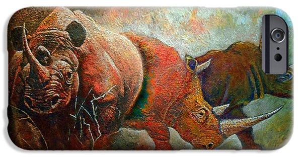 Rhino iPhone Cases - Rhino Walk iPhone Case by Michael Durst