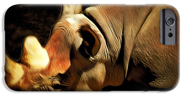 Biological Digital Art iPhone Cases - Rhinoceros 20150210brun iPhone Case by Wingsdomain Art and Photography