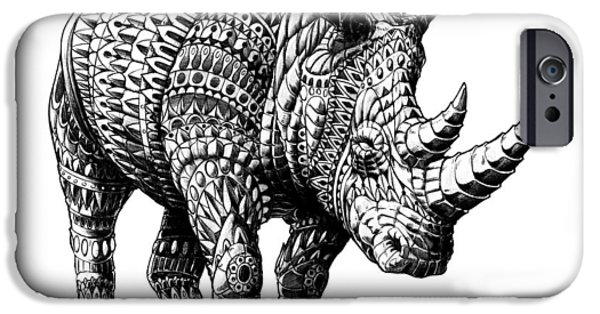 Artwork Drawings iPhone Cases - Rhinoceros iPhone Case by BioWorkZ