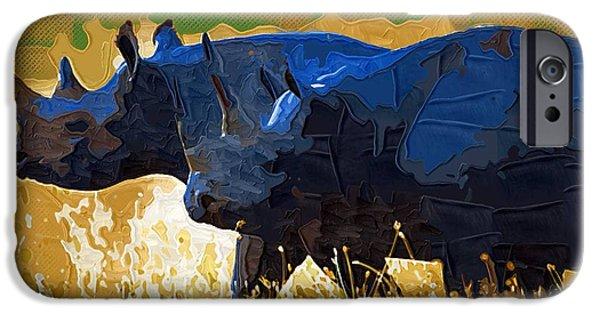 Rhino iPhone Cases - Rhinos iPhone Case by Victor Gladkiy