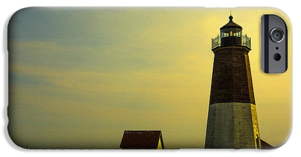 Sailboat Ocean iPhone Cases - Rhode Island Lighthouse iPhone Case by Diane Diederich