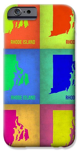 Islands Art iPhone Cases - Rhode Island Pop Art Map 1 iPhone Case by Naxart Studio