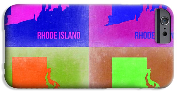 Islands Art iPhone Cases - Rhode Island Pop Art Map 2 iPhone Case by Naxart Studio