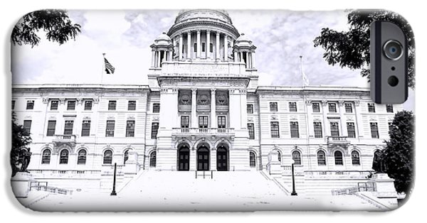 Historical Buildings iPhone Cases - Rhode Island State House BW iPhone Case by Lourry Legarde