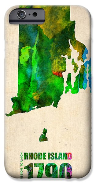 Rhode Island iPhone Cases - Rhode Island Watercolor Map iPhone Case by Naxart Studio