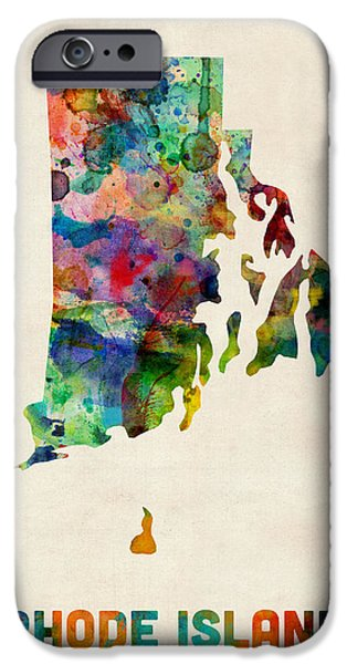 Us Map iPhone Cases - Rhode Island Watercolor Map iPhone Case by Michael Tompsett