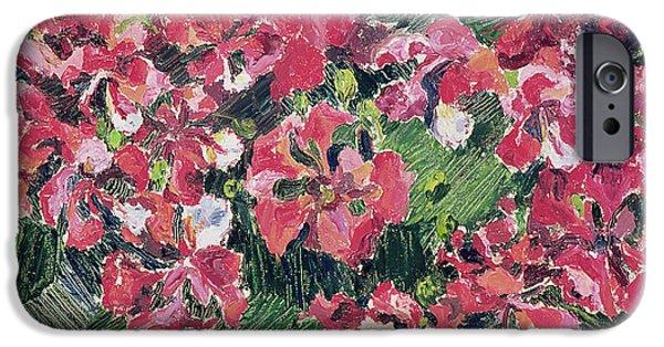 Green Foliage iPhone Cases - Rhododendron, 1962 Oil On Canvas iPhone Case by Izabella Godlewska de Aranda