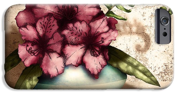 Plaster iPhone Cases - Rhododendron I iPhone Case by April Moen