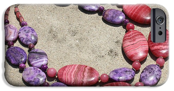 Sterling Silver iPhone Cases - Rhodonite and Crazy Lace Agate Double Strand Chunky Necklace 3636 iPhone Case by Teresa Mucha