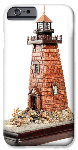 House Art Sculptures iPhone Cases - Rhody Lighthouse iPhone Case by Seaside Artistry